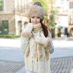 Rabbit fur knit hat scarf and gloves set for women winter wear