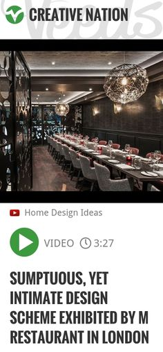The first thing that strikes you when you walk into M Restaurant on Threadneedle Walk is how big the space is, yet how intimate it feels! This brand new 12,000 square foot London eatery, was a colla.. | http://veeds.com/i/fMKkeCSVSL9H_UHs/creativenation/