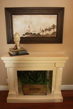 faux fireplace- This one looks like it could be moved if you wanted it somewhere else