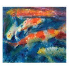 Koi at Kew Gardens by Francis Bowyer, The Royal Watercolour Society RWS – Dry Red Press Art Society, Fine Art, Watercolor, Beautiful Greeting Cards, Painting, Art