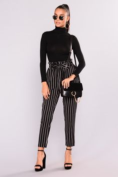 Marcela Pants - Black/White class outfit w flats, going out outfit w heels, hanging out outfit w sneakers Stylish Summer Outfits, Casual Work Outfits, Business Casual Outfits, Professional Outfits, Winter Fashion Outfits, Office Outfits, Classy Outfits, Look Fashion, Cool Outfits