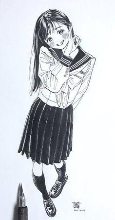 C38bborvcaav4hb Anime Art Girl, Manga Girl, Manga Anime, Art Drawings, Drawing Sketches, Wie Zeichnet Man Manga, Poses References, Anime Sketch, Manga Drawing