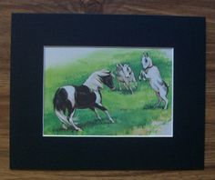 Print Horse Goats Rich Rudish Playtime Romping 1984 Bookplate 8x10 Matted Cuties