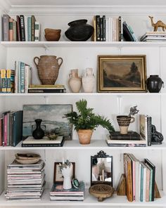 These shelves are ever changing. It's full of memories, knickknacks, books I treasure, and a lot more. But most of all, I treasure this… bookshelf decor My New Room, Home Decor Inspiration, Decor Ideas, Home And Living, Sweet Home, Room Decor, House Design, Decoration, House Styles