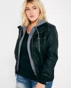 <p>We can think of a million things to love about this layered-look jacket...but we'll just start out with a few! Its faux leather outer automatically gives it that cool girl look, its super soft fleece hood makes it incredibly comfy, and its four front pockets make it super wearable and functional.</p>  <p>Model wears a size 1X.</p>  <ul> <li>Hooded</li> <li>Exposed Front Zipper</li> <li>Midweight</li> <li>Fully Lined</li> <li>Long Sleeves</li> <li>Polyurethane/ Polyester / ...