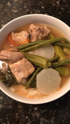 I made Filipino SINIGANG for the very first time. It's my first time making it, but I did a lot of research and recruited my Filipino sister in law for help. I must have called and texted her and my brother a handful of times while making it. Healthy Recipes, Healthy Dishes, Pork Recipes, Asian Recipes, Cooking Recipes, Vegetarian Recipes, Pinoy Food Filipino Dishes, Filipino Soup Recipes, Filipino Desserts