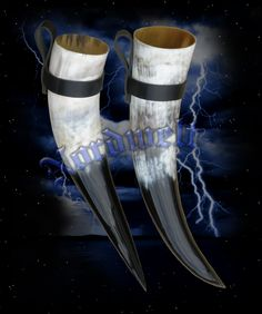 Viking Drinking Horns with leather holder