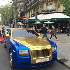 Sheik, rattle, roll.  #paris #car #gold #rollsroyce #sheik #ParisJeTaime #parismav | OnInStagram