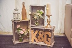 Wooden Crates Rustic Decor | Wedding Ideas | Whimsical Barn Wedding in Wales | Pink & Gold Colour Scheme | Rustic DIY Decor | Images by Nick Murray Photography | http://www.rockmywedding.co.uk/kristy-george/