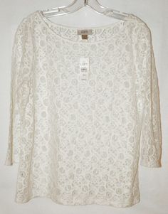 Ann Taylor Loft Lace 3/4 Sleeve Blouse White Sheer Sz Medium NWT