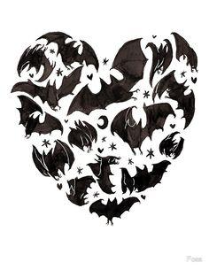 'Bat Heart' Art Print by Charlotte Pringle Desenho Tattoo, Gothic Art, Heart Art, Halloween Art, Bats, Art Reference, Creepy, Cool Art, Art Drawings