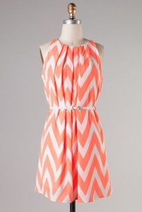 Chevron Neon Coral Belted Dress