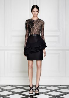 Jason Wu Resort 2013 - Review - Collections - Vogue    Love the black lace and peplum. Divine!