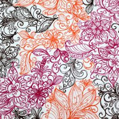 Fiesta Floral Outlines Cotton Jersey Knit Fabric (Girl Charlee Fabrics)