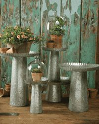 Galvanized Steel bird bath or plant stand. Did someone say cake stand?