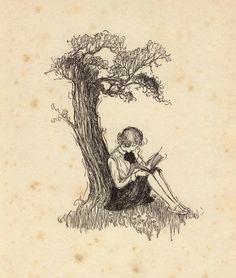 Girl reading under a tree, circa 1920s  Artist unknown
