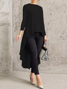 ZANZEA Solid Color Asymmetrical High Low Blouse look not only special, but also they always show ladies' glamour perfectly and bring surprise. Trendy Fashion, Fashion Outfits, Fashion Blouses, Looks Chic, Blouse Styles, Blouses For Women, Tunic Tops, Clothes, Dresses