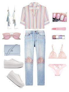 """""""Bliss and Mischeif Embroidered Jeans"""" by marlaj-50 ❤ liked on Polyvore featuring Prada, Solid & Striped, La Perla, Bliss and Mischief, Chan Luu, Topshop and Forever 21"""