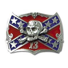 Rebel Flag Confederate Flag Belt Buckle | BUDK.com - Knives & Swords At The Lowest Prices!