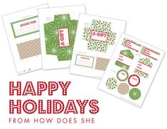 Free Christmas Gift Giving Printables howdoesshe.com #tags