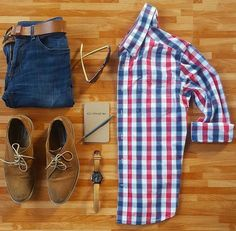 Plaid, Denim and Suede - Great look for guys. Men's style grid