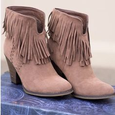 """Fringe Ankle boots 3"""" heel. Taupe faux vegan  suede fringe booties. Run's 1/2 size big. Price firm unless bundle❗️ Shoes Ankle Boots & Booties"""