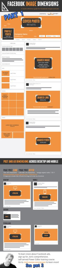 UPDATED Facebook image sizes cheat sheet Part 1 www.socialmediabusinessacademy.com Facebook Infographic Facebook marketing