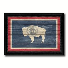 Wyoming State Flag Texture Canvas Print with Black Picture Frame Home Decor Man Cave Wall Art Collectible Decoration Artwork Gifts