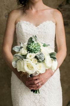 White and Green Bouquet with Succulents | Brides.com