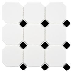 The Merola Tile Metro Super Octagon Matte White with Glossy Black Dot in. x 5 mm Porcelain Mosaic Tile features a classic octagon in a new oversized shape and a smooth glazed finish Mosaic Tiles, Wall Tiles, Hex Tile, Best Floor Tiles, White Tiles, Black Dots, Black Accents, Black White, Stone Tiles