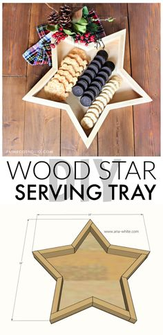 DIY Wood Star Tray - Jaime Costiglio : A DIY tutorial to build a wood star tray. Make this star shaped serving tray for your holiday party or even better the perfect hostess gift! Easy Woodworking Projects, Fine Woodworking, Diy Wood Projects, Woodworking Chisels, Woodworking Techniques, Woodworking Logo, Woodworking Magazine, Woodworking Classes, Popular Woodworking