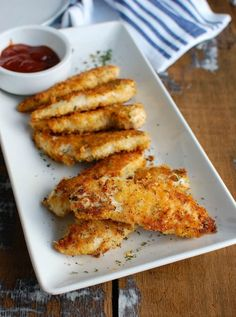 Healthy Baked Chicken Fingers: Crispy Baked panko crusted chicken fingers. Just as tasty as fast food chicken, but not fried , and a whole lot healthier!