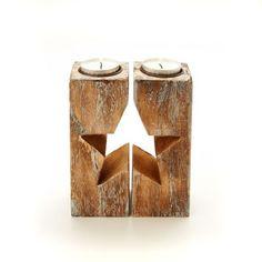 Teelichthalter-Set Stern, 2-tlg., Holz Vorderansicht