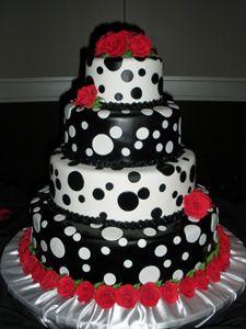 Polka dot cake. Black, white and red