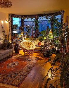 Home Decor & Interior Designs on Instagram: This is a very cozy living room! What do you think about all the plants? Follow us @perfect.homess Follow us @perfect.homess ...al an array of gelato inspired hues like watermelon raspberry and citron or 80's inspired hues like electric purple fuchsia and turquoise...not a mu...le company located in San Diego. This project also features a custom powder room countertop with integrated sink cast from recycled fly ash concrete #livinglocurto.com/kitchen-o House Plants Decor, Room With Plants, Plant Decor, Bohemian Decor, Boho Chic, Hippie House Decor, Bohemian House, Modern Bohemian, Bohemian Bedrooms