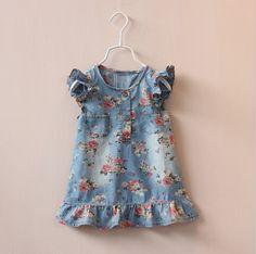 Encontrar Más Vestidos Información acerca de Vestidos 2015 del verano lindo Jean para las niñas vestido estampado de flores de mezclilla niños infantes, alta calidad Vestidos de Little Lisa en Aliexpress.com