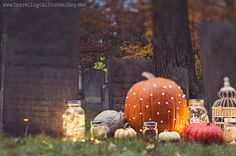 Halloween photography autumn fall spooky cemetery bokeh pumpkins mason jar grey orange gold green fairy lights large wall art fine art photo