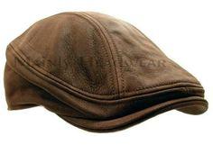 Stetson Leather Ivy Cap Mens Gatsby Newsboy Hat Golf Brown Driving Flat s M L XL | eBay