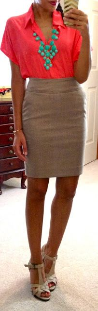 Target blouse, H&M pencil skirt, heels via Kohl's, Stella & Dot Gilded Arrow Bangle C/O Erika Lehman, bubble necklace C/O Wild Butterfly Boutique