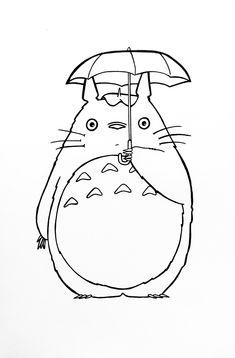 my neighbour totoro print, studio ghibli print, anime art prints Stick Poke Tattoo, Stick N Poke, Anime Kunst, Anime Art, Totoro Drawing, Drawing Sketches, Art Drawings, Personajes Studio Ghibli, Ghibli Tattoo