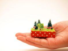 Tiny Matchbox Woodland Scene with Tiny by machelspencePHOTO, $11.99