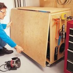Build this solid, roll-around, folding workbench in a day with simple hardware and only two sheets of plywood. (cutting table?)...I made one like this back in the 70's....only mine was much narrower on the top (sides) and I had both sides come up.it was a great cutting table ........<3