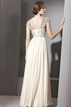 Chiffon A-Linie Durchsichtiger Rücken bodenlanges drapiertes romantisches ärmelloses Abendkleid