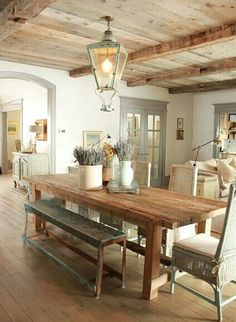 farmhouse style / wood ceiling / white walls / grey woodwork / great lighting fixture over dining table / 599808_467781653287808_643784296_n.jpg 424×579 pixels
