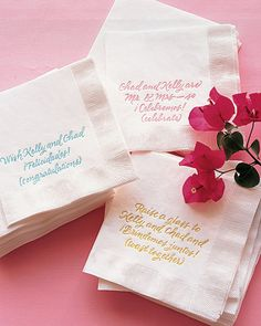These napkins are printed with celebratory messages in Spanish and English