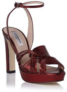 106c85b6bc176 L.K. Bennett Leighton Ankle Strap Metallic Sandal affiliatelink Wedge Shoes
