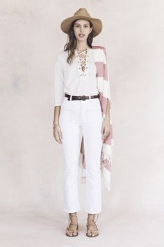 your sneak peek at madewell's spring 2016 collection: white high rise cropped jeans, brown lace-up sandals, pink and white wide stripe fringe scarf, white lace-up shirt + straw hat. pre-order your favorites now by calling 866-544-1937 (434-385-5792 for our international friends) or email shopfirst@madewell.com to get first dibs  #everydaymadewell