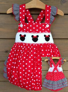 Mouse Ears Smocked Ruffle Bottom Bubble - Red & White Polka Dot
