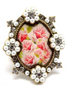 VINTAGE STYLE FLOWER CRYSTAL LADIES FASHION STRETCH RING - View All Rings - Rings - Jewellery