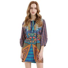 Women Full Sleeve O-Neck Bow Spring Summer Bohemian Style Retro Loose Print Sexy Dress Without Belt